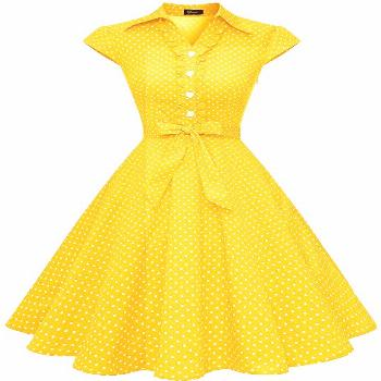 Wedtrend Women's 1950s Retro Rockabilly Dress Cap Sleeve Vintage Swing Dress#1950s