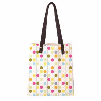 Women's Soft PU leather Tote Shoulder Bag,Retro Revival Pattern with Circles and Colorful Dots Abst