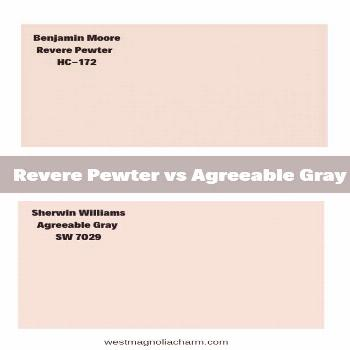Wondering how Benjamin Moore Revere Pewter and Sherwin WIlliams Agreeable Gray compare to one anoth