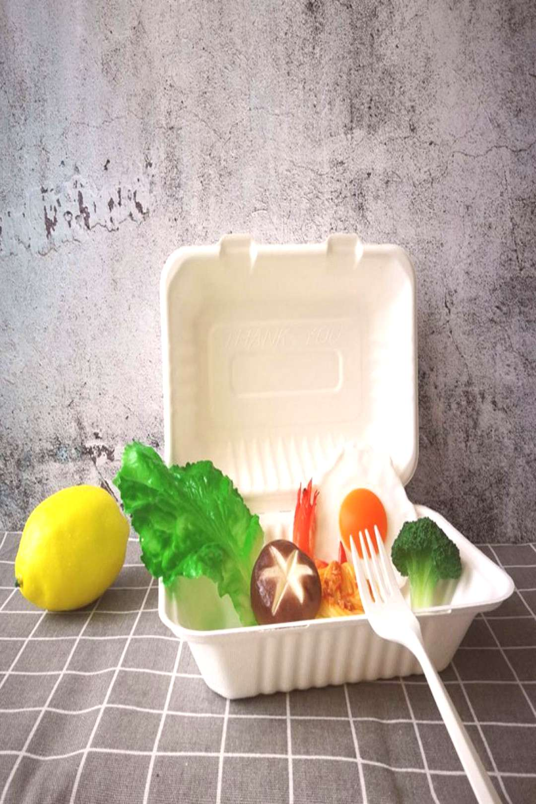 50Pcs/Bag 800ML Healthy Disposable Takeout Box Degradable Anti-leak Food Containers for School Rest