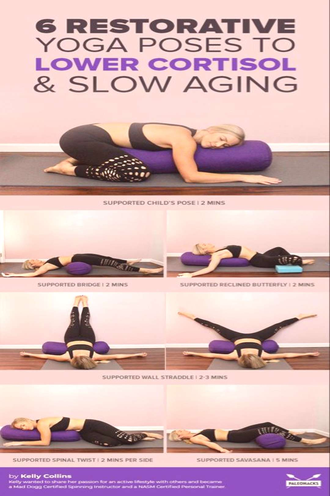 6 Restorative Yoga Poses To Lower Cortisol & Slow Aging | Gentle, Easy