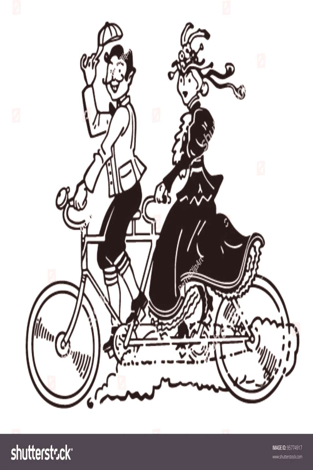 Bicycle Built For Two - Retro Clipart Illustration ,