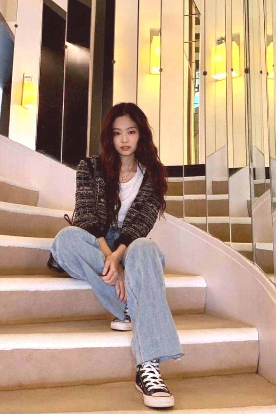 BlackPink Jennie Style - Retro Plaid Knit Cardigan -  You are in the right place about outfits with
