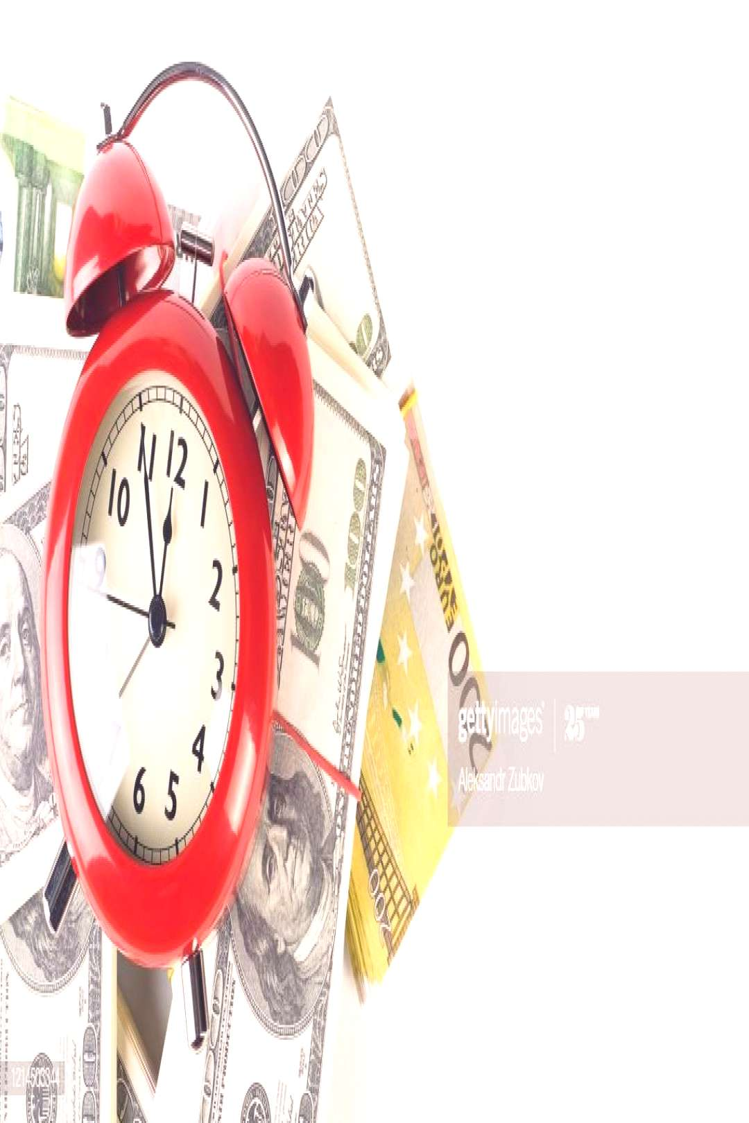 Bright Red Alarm Clock In Retro Style On A Pile Of Paper Dollars And Euros Time ,