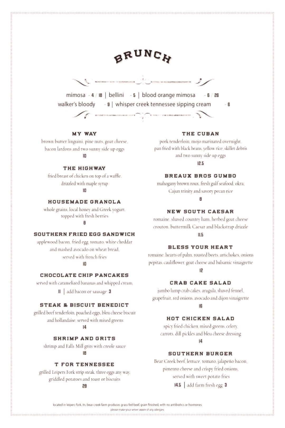 {Brunch Menu Items | The Southern of Nashville}