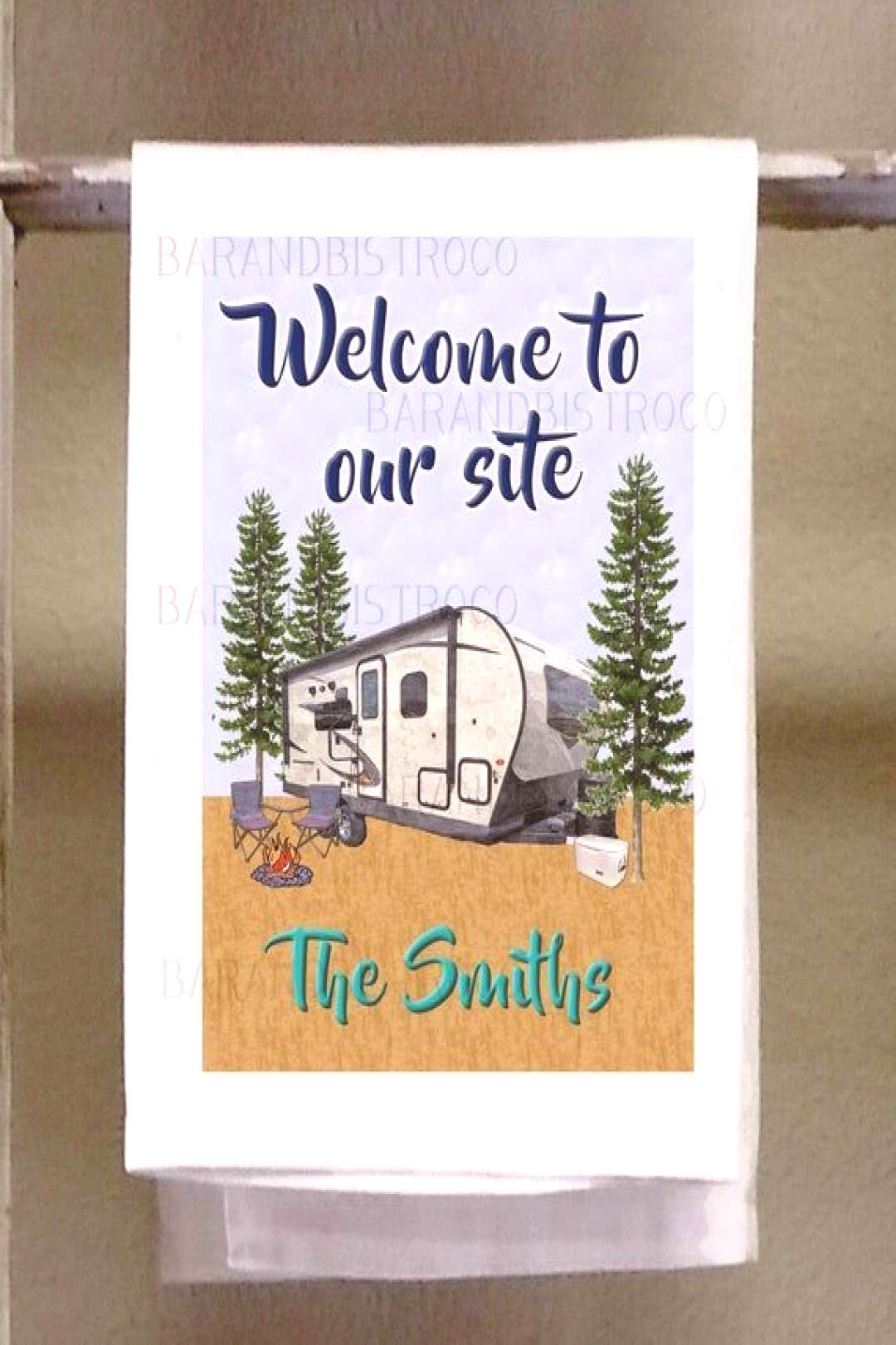 Camping towel, Welcome to our site, personalized, Kitchen Dish Towel,Retro Camper, Retro colors, fu