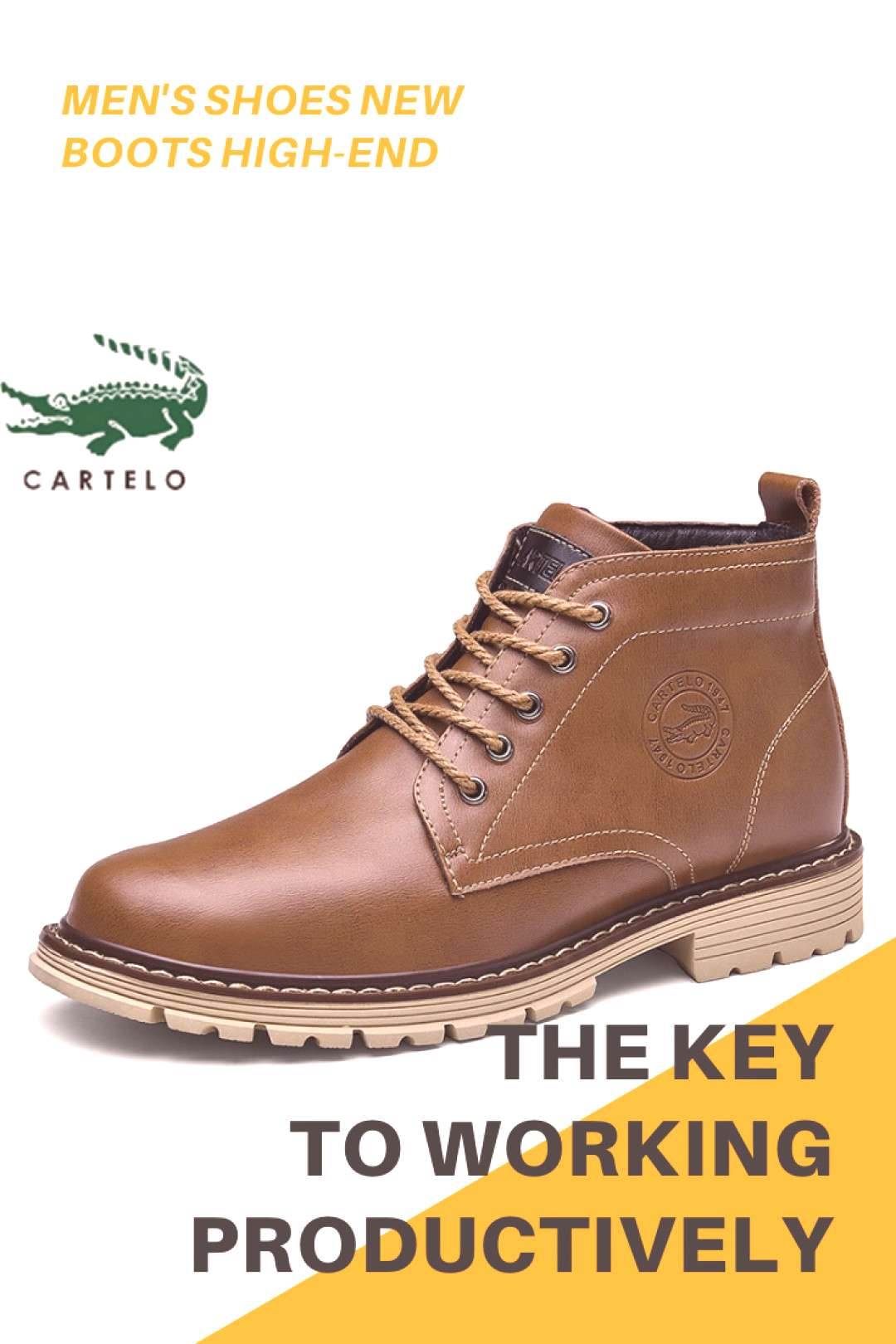 CARTELO men's shoes new high-end British retro fashion tooling leather Martin boots round head high