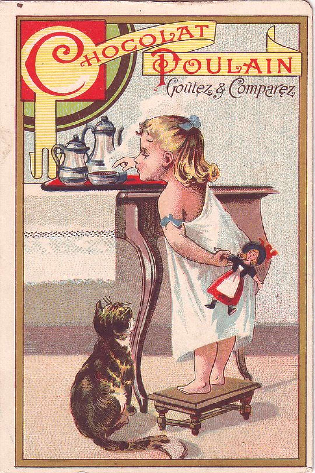 CHROMO CHOCOLAT POULAIN- GIRL ON SMALL STOOL REACHING FOR A BOWL OF CHOCOLATE WATCHED BY CAT - HERO