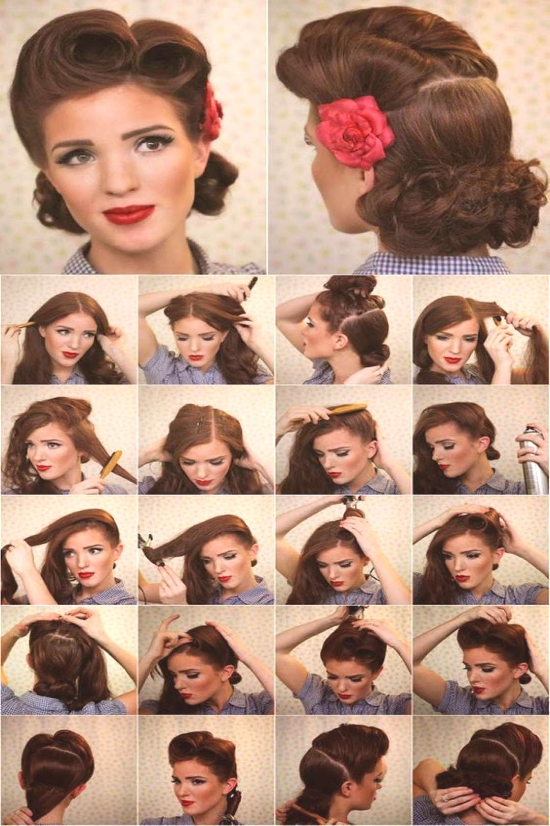 Coiffure pin up cheveux courts et longs