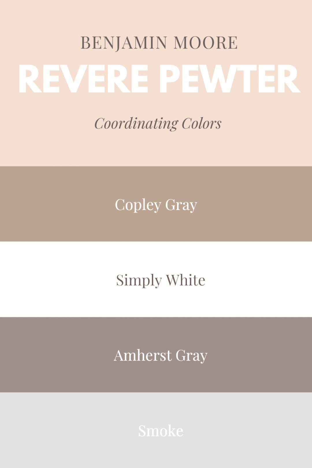Coordinating colors with Revere Pewter |Benjamin Moore Revere Pewter| Copley Gray| Simply White| Am