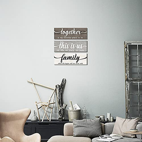 Creoate This Is Us Wall Decor, Set of 3 Family Sign Wood