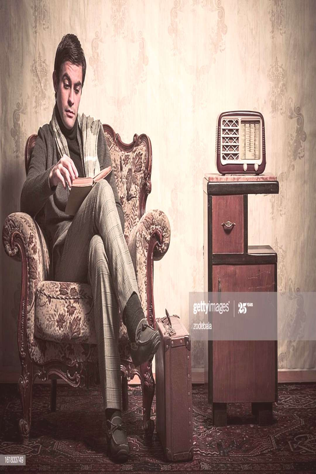 Elegant Retro Man Reading A Book In Vintage Room Photography ,