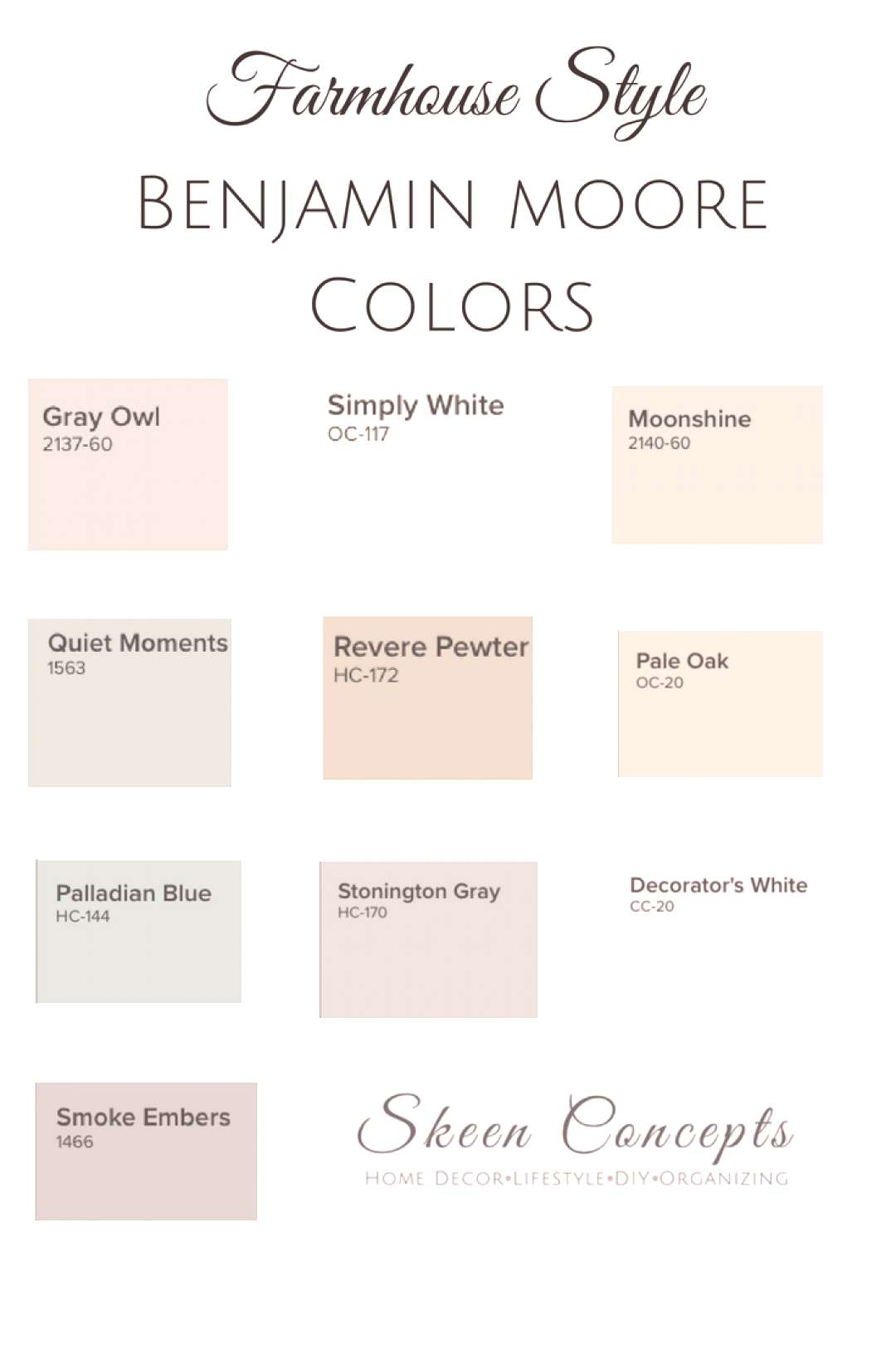 Farmhouse Style inspired paint colors from Benjamin Moore. How to add Farmhouse Style to your home.