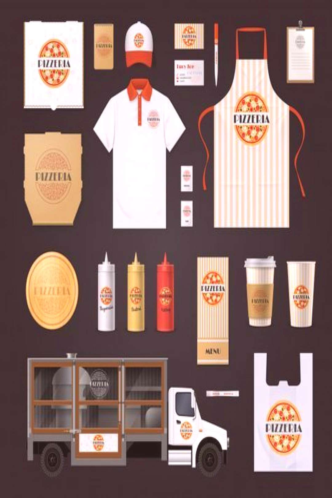Fast food restaurants chain corporate identity templates set with pepperoni pizz...  -