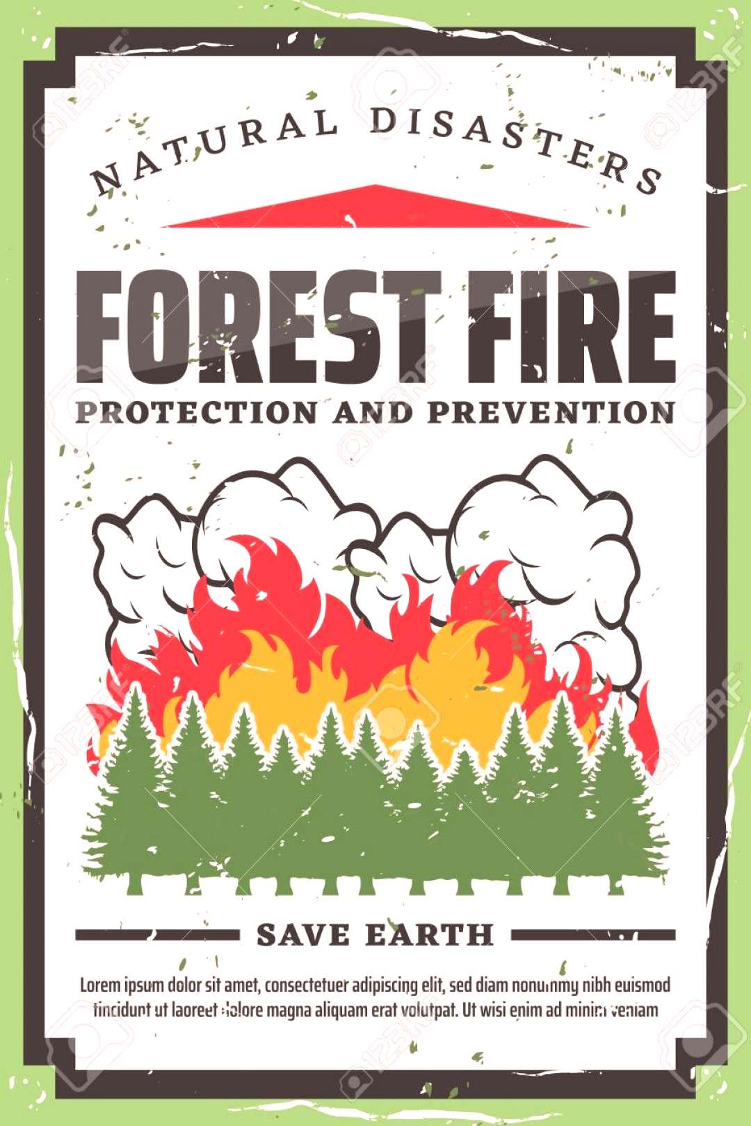 Forest fire fighting, nature protection and wildfire prevention retro poster. Vector natural disast
