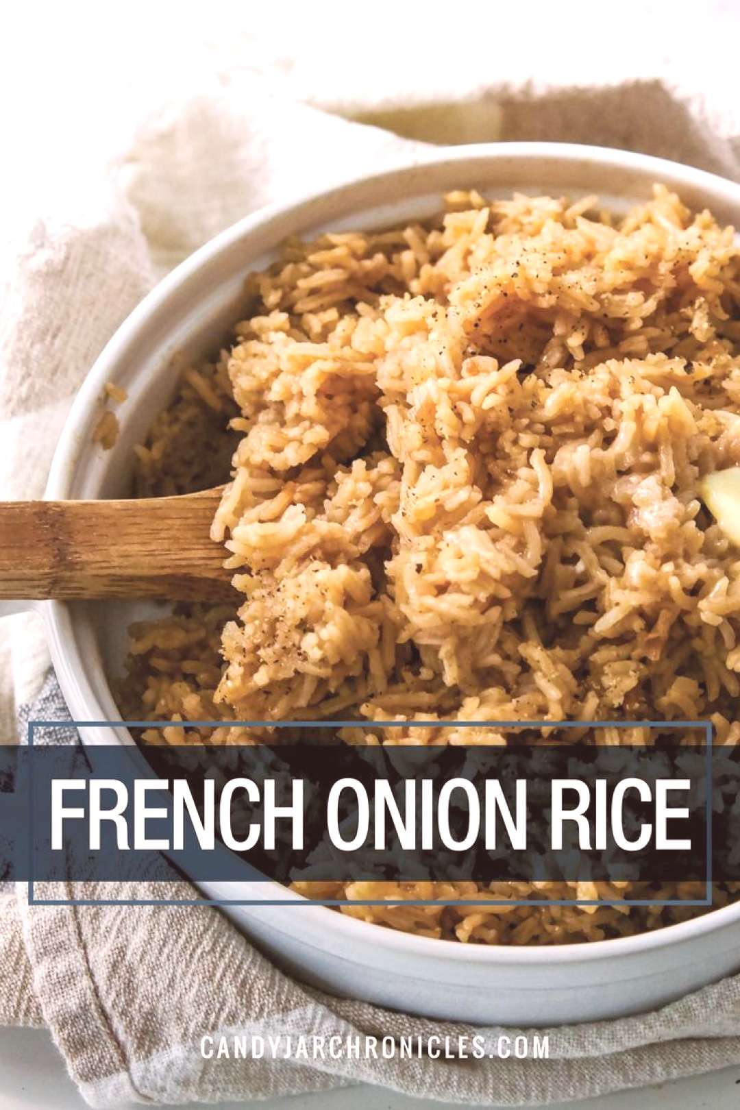 French Onion Rice is an easy recipe combining basmati rice with beef bouillon and onion soup mix. I