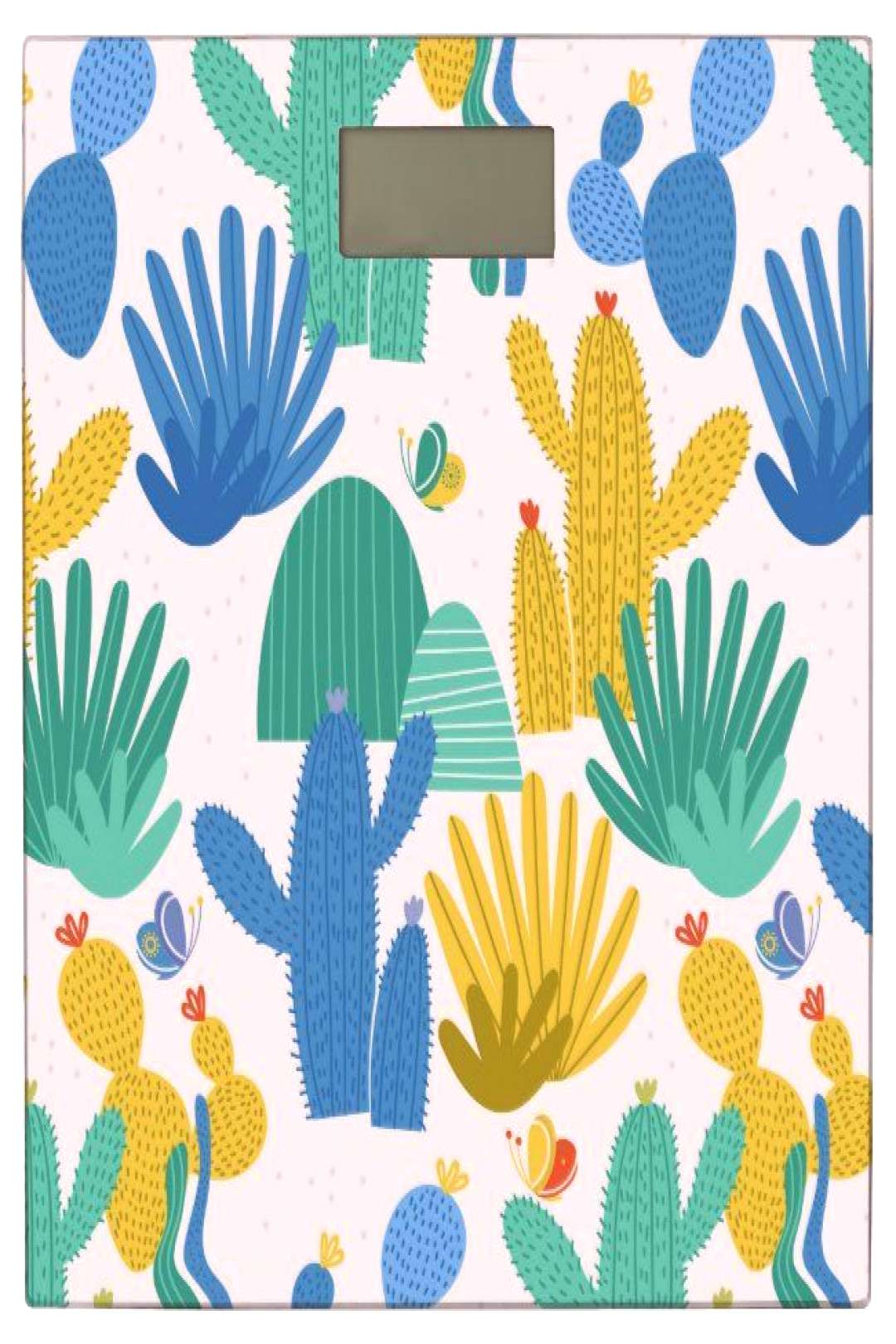 Funny cactus pattern - white bathroom scale
