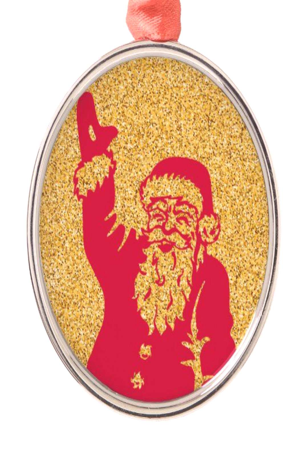 Gold glitter Christmas Santa Metal Ornament