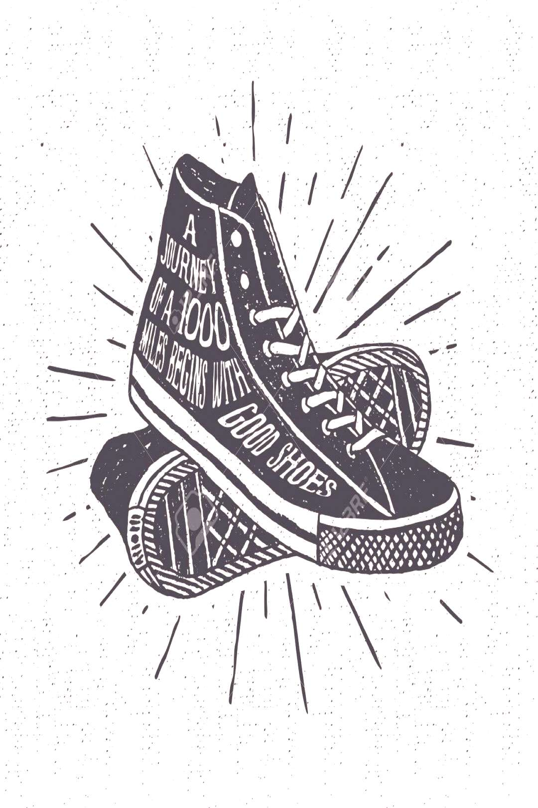 Hand drawn textured vintage label, retro badge with sneakers vector illustration and inspirational