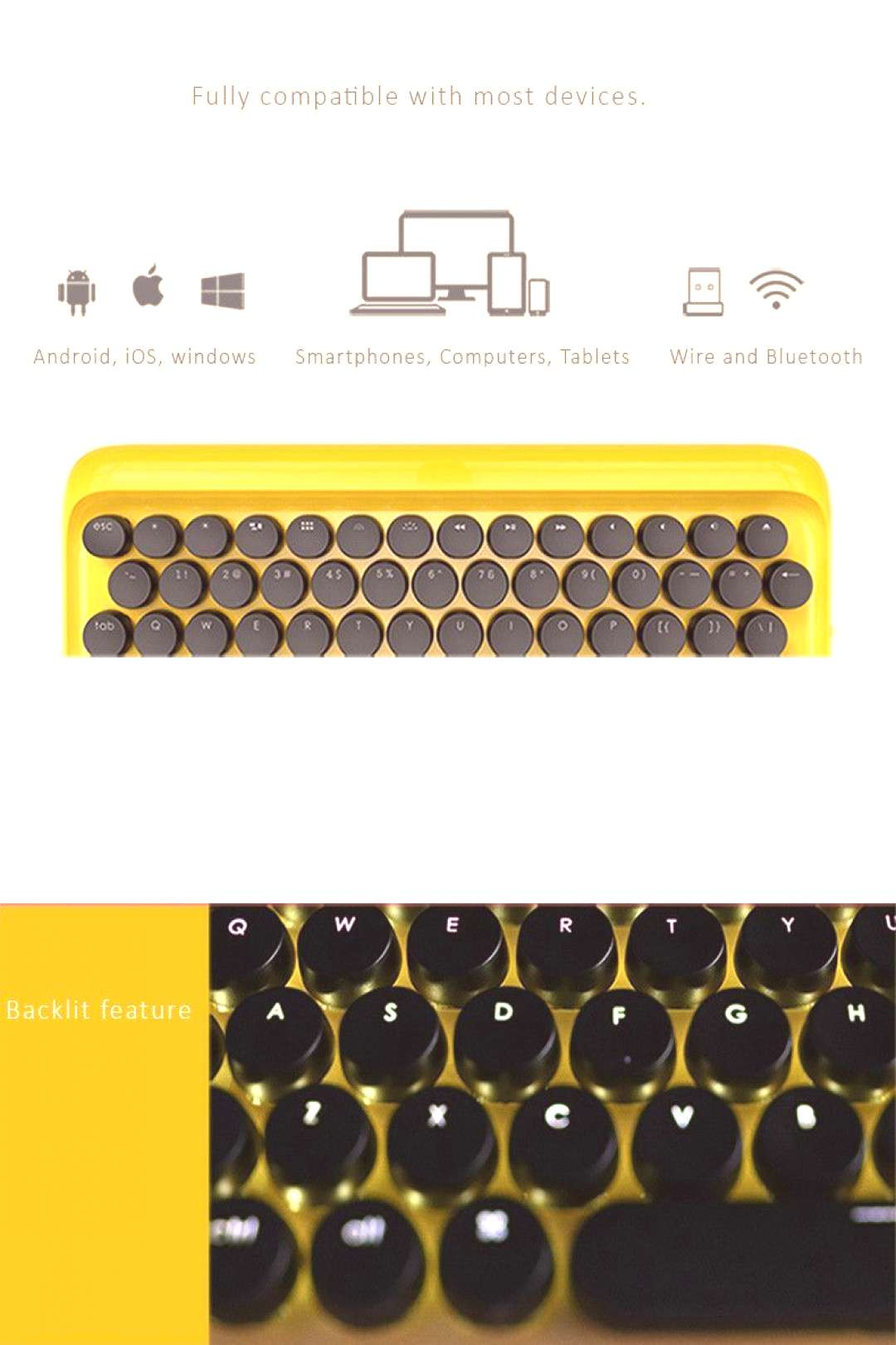 Lofree Retro mechanical backlit keyboard design with modern touch. Wired and Bluetooth connection,