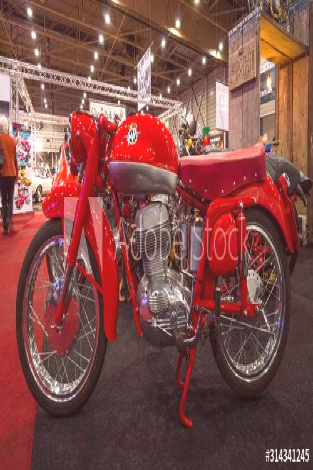 MAASTRICHT, NETHERLANDS - JANUARY 14, 2016: Retro motorcycle MV Agusta. International Exhibition In