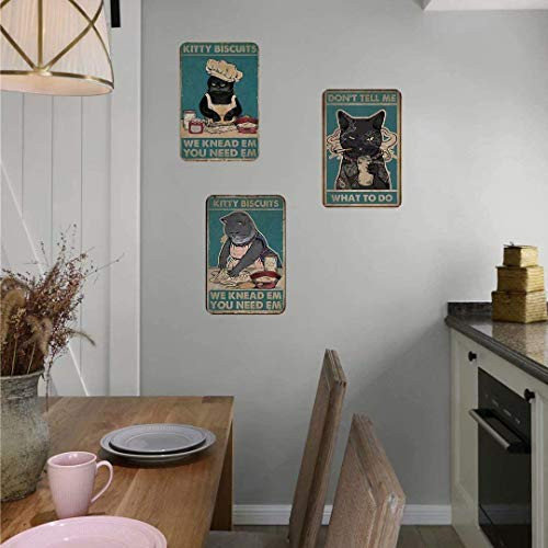 Metal Tin Sign of Cat Coffee Style Its Because Murder is