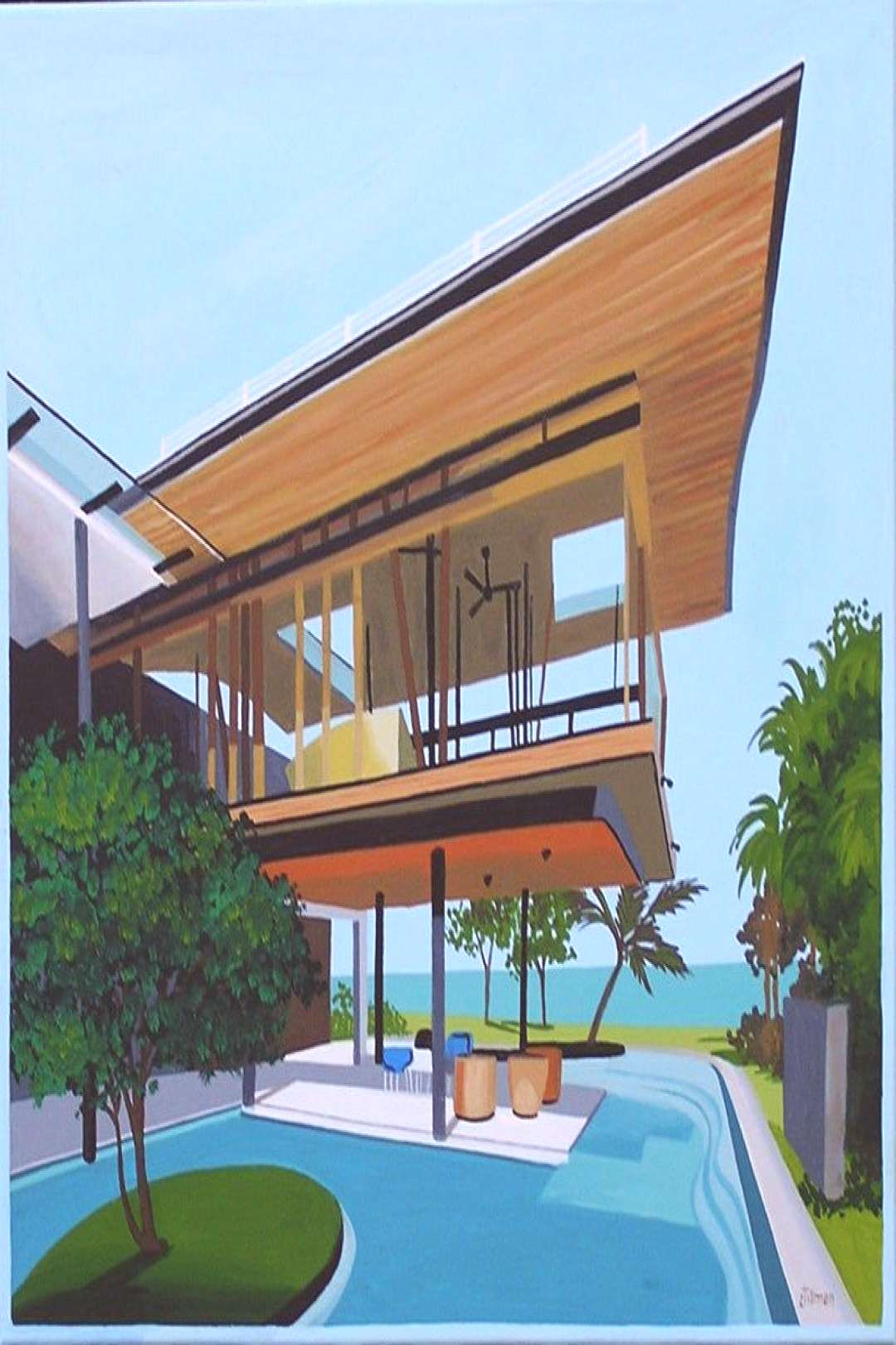 Mid Century Modern Eames Retro Limited Edition Print from Original Painting Beach House -  Mid Cent