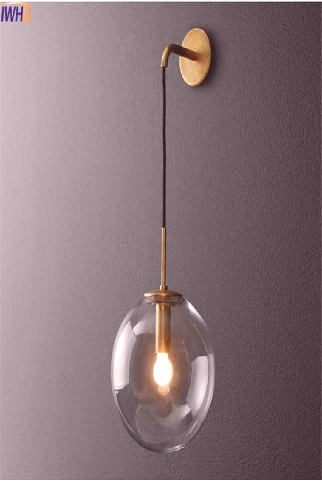 Modern Retro Hanging Globe Black Brass Wall Sconce Sconce Fixture - Home Decorations#black