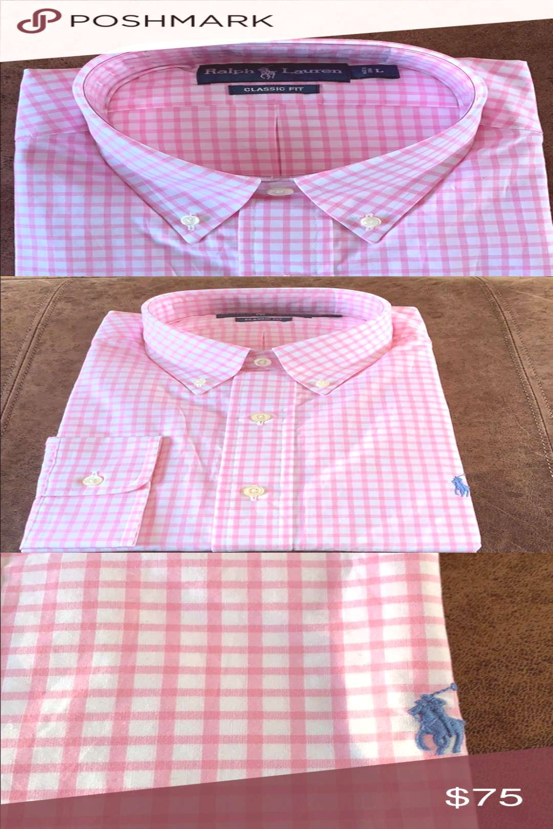 NWT! Ralph Lauren Classic Fit Button-down shirt NWT! Classic pink and white look in the Classic fit