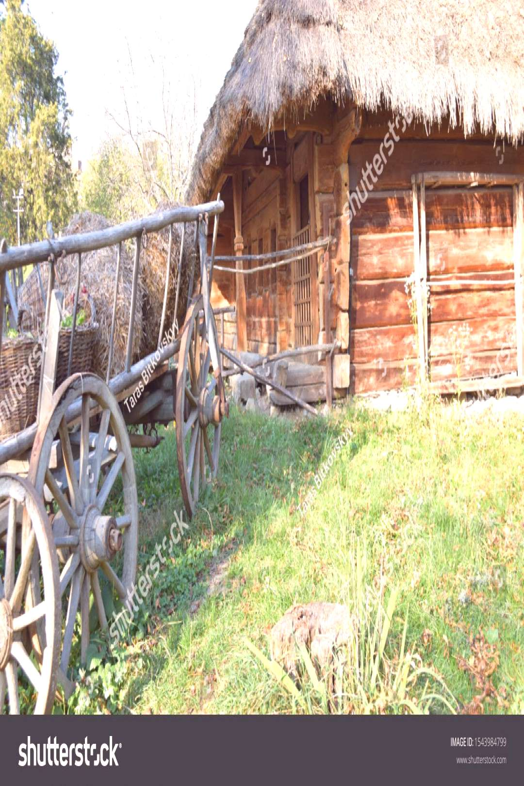 Old wooden cart, Retro dray, Wooden house background, Country style, Village ,