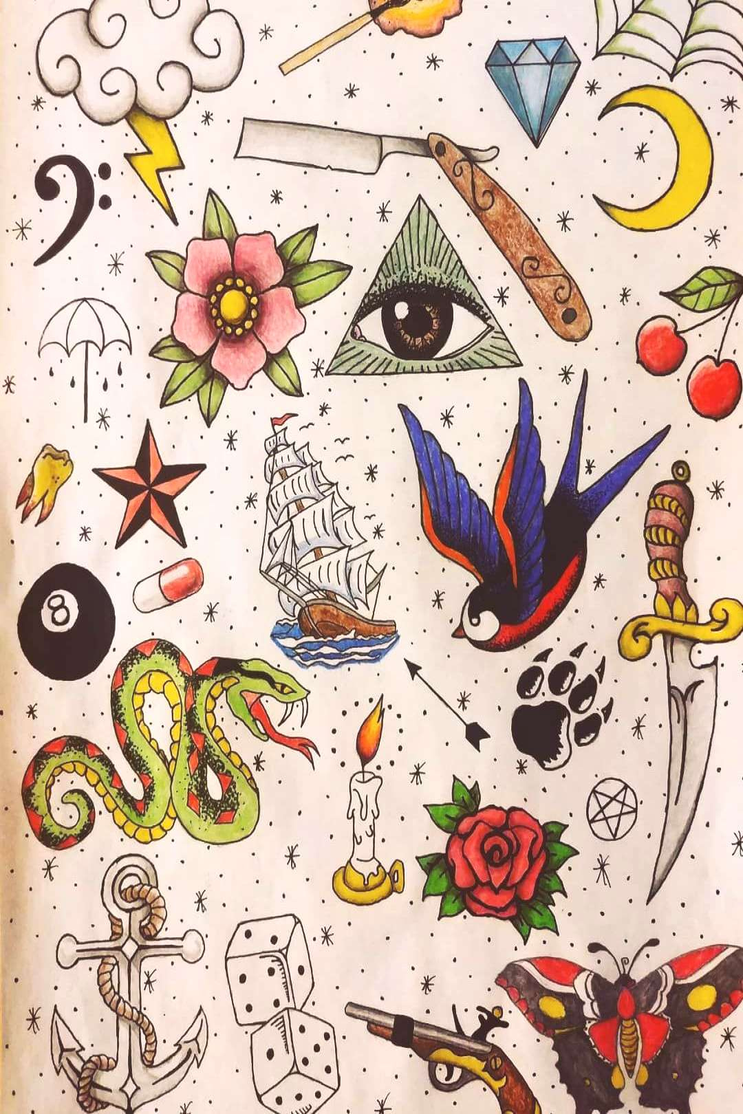 Oldschool tattoo designs. Feel free to use any of these.