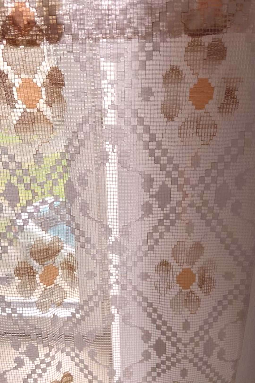 Pair of French Retro Colored  Net Floral Bistro / Cafe Curtains (86 x 83cm)#83cm