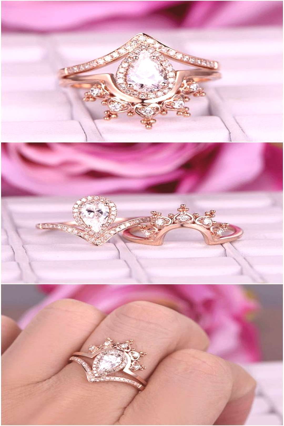 Pear Shaped Moissanite Engagement Ring Set 14k Rose Gold Diamond Wedding Band Vintage Crown Antique
