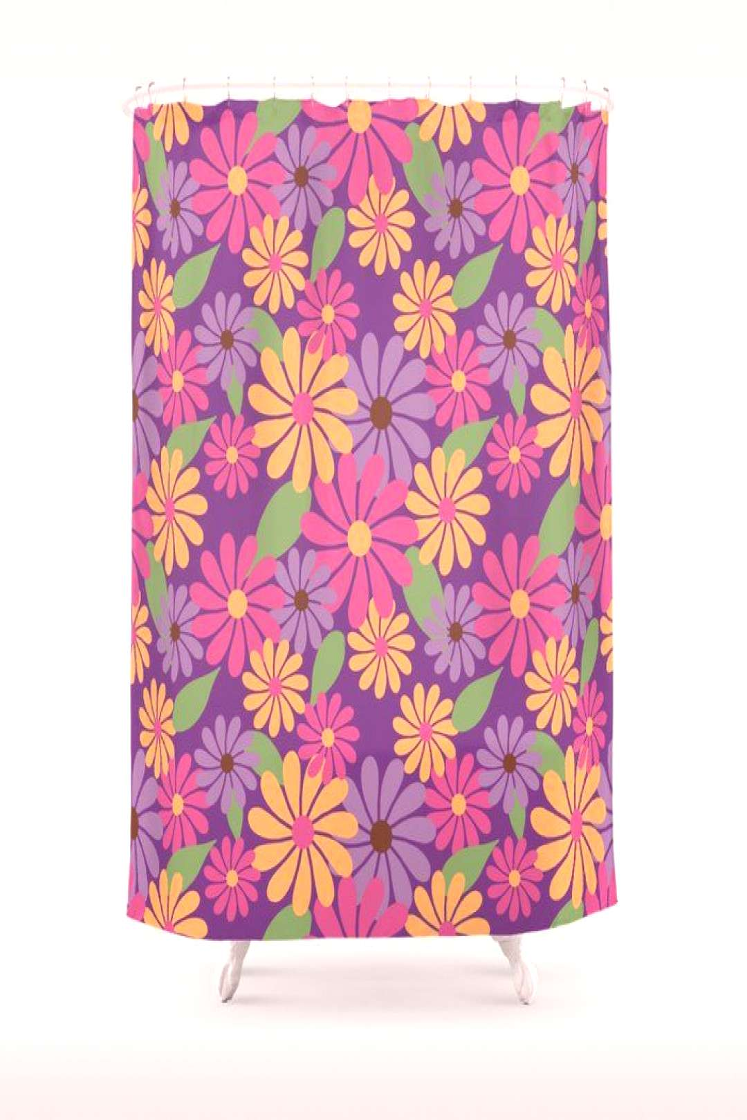 Pink Summer Floral Print Shower Curtain by lavendermintgraphics Colorful Retro Floral Summer Print