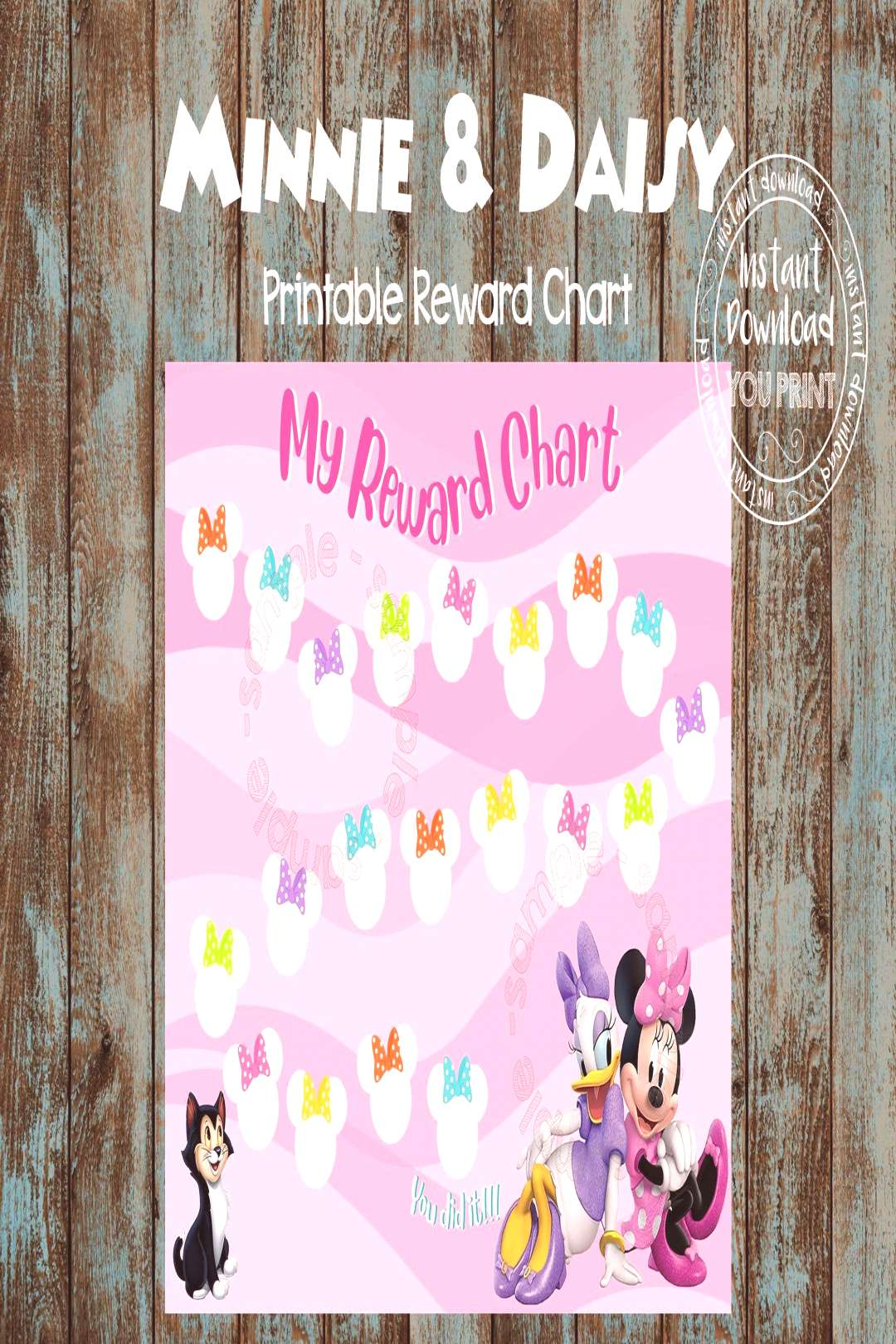 Printable Reward Chart, Minnie Mouse and Daisy Reward Chart, Minnie Mouse Bowtique Chart, Minnie an