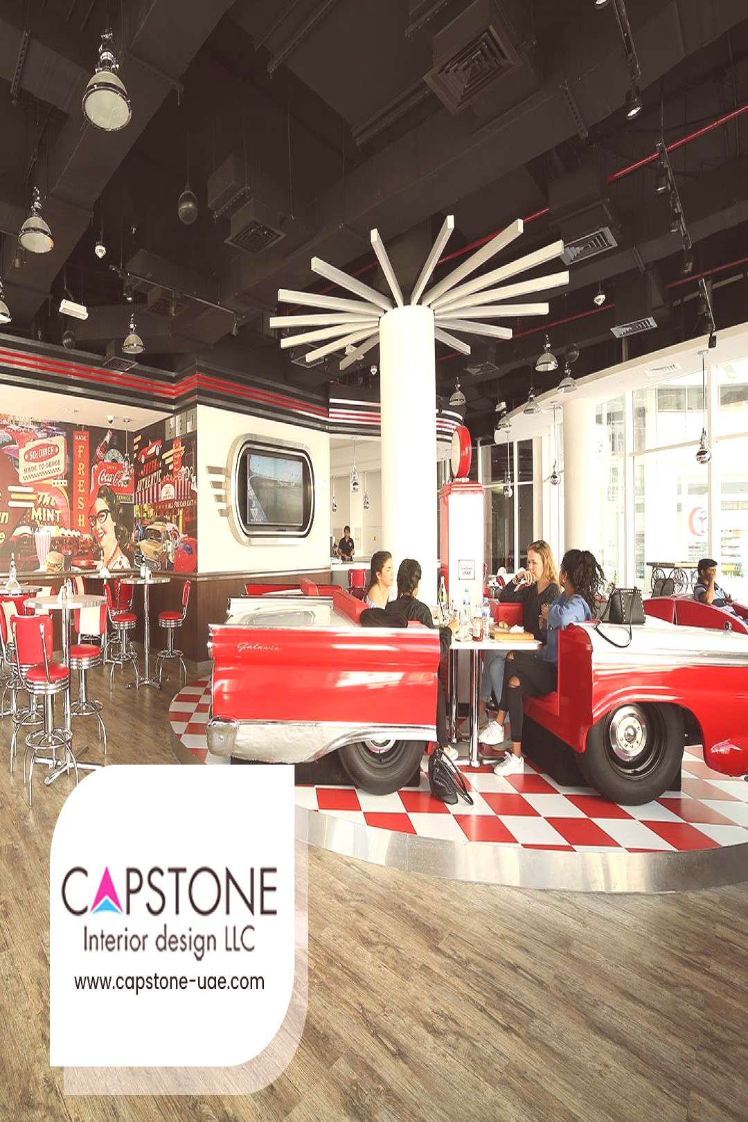 Restaurant Interior Project in American Diner at Abu Dhabi, UAE by Capstone Interior Design If you