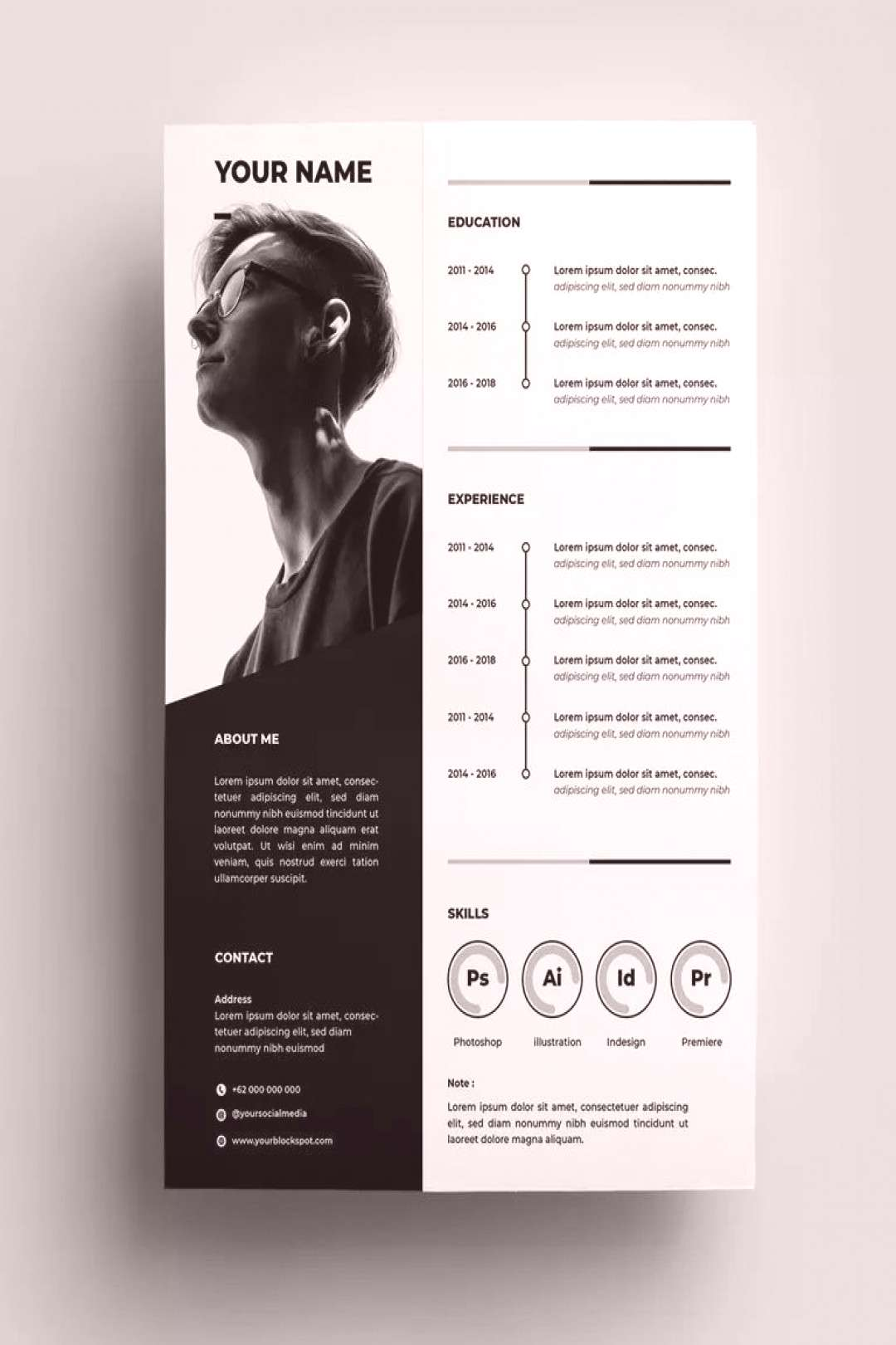 Resume Design Templates AI, EPS - A4 paper size. Download
