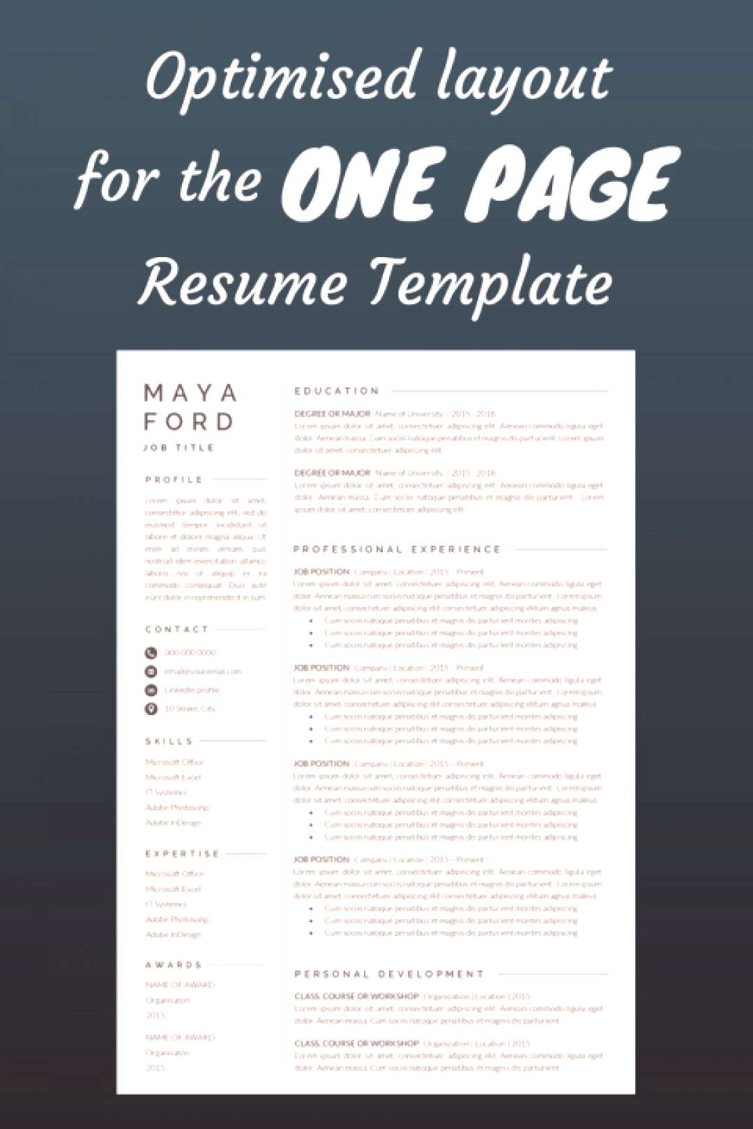 Resume Template | One page resume | Professional Resume | Modern Resume | Resume Word | CV Template