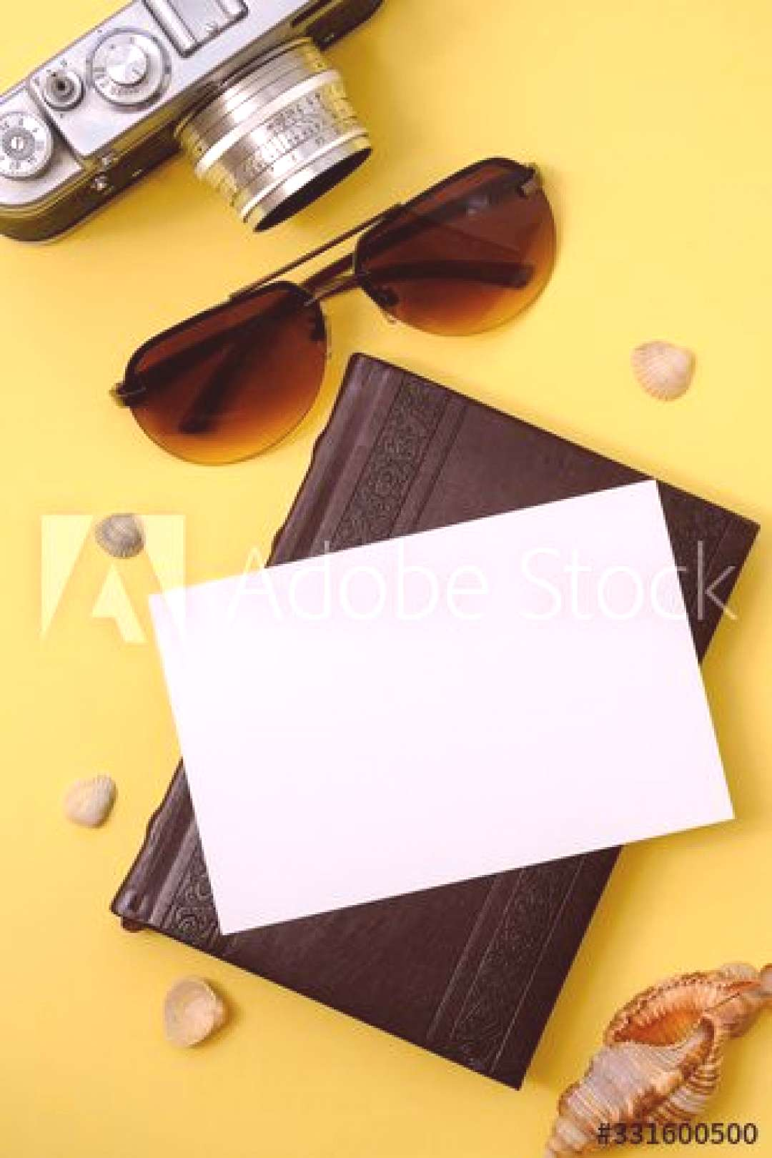 retro camera and photo card on a yellow background with shells ,