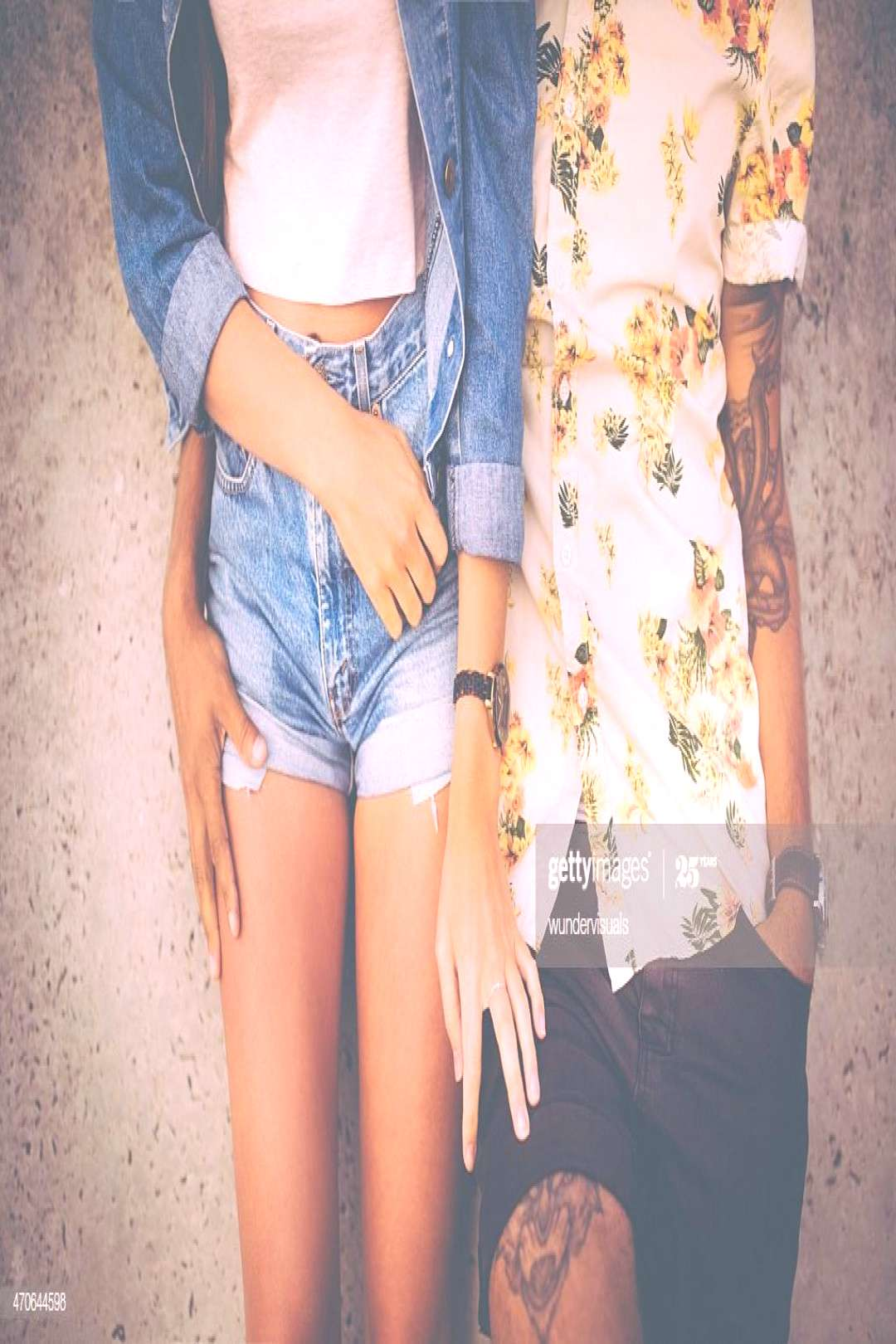 Retro Style Hipster Couple Standing Affectionately Alongside Eac Photography ,