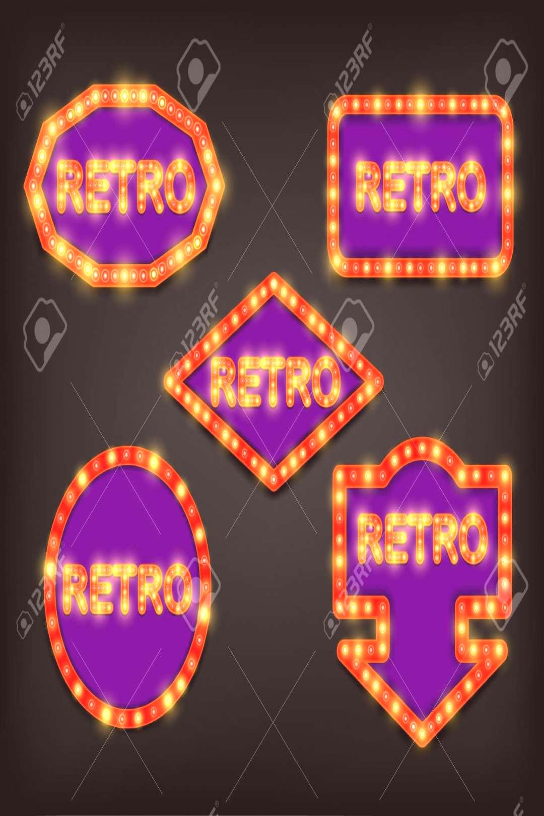 Shining retro sign. Vector illustration. Illustration ,