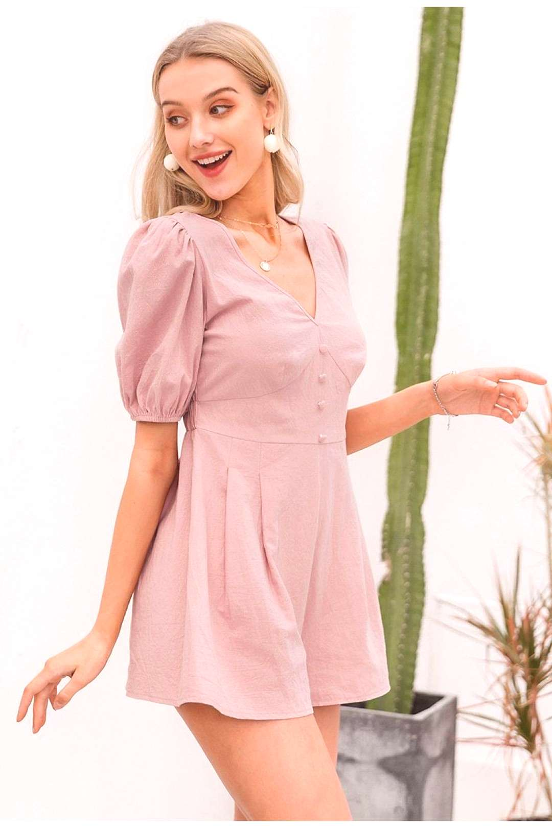 SOLID PINK RETRO BUTTON ROMPERS We are offering the most comfortable chic boho clothes amp accessorie
