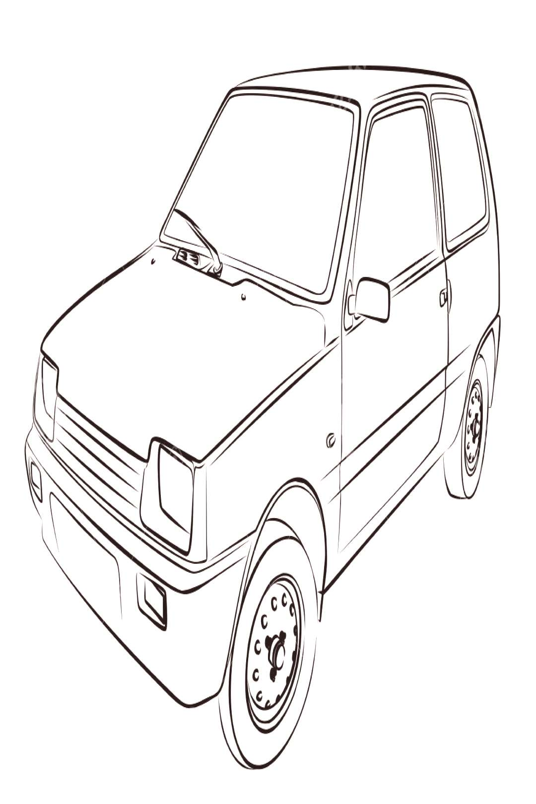 The Sketch of an old retro car. ,