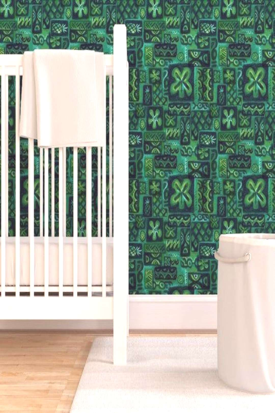 Tiki Wallpaper - Green Flower by woodyworld - Hawaiian  Waves Retro Vintage Mid Century Blue Turquo