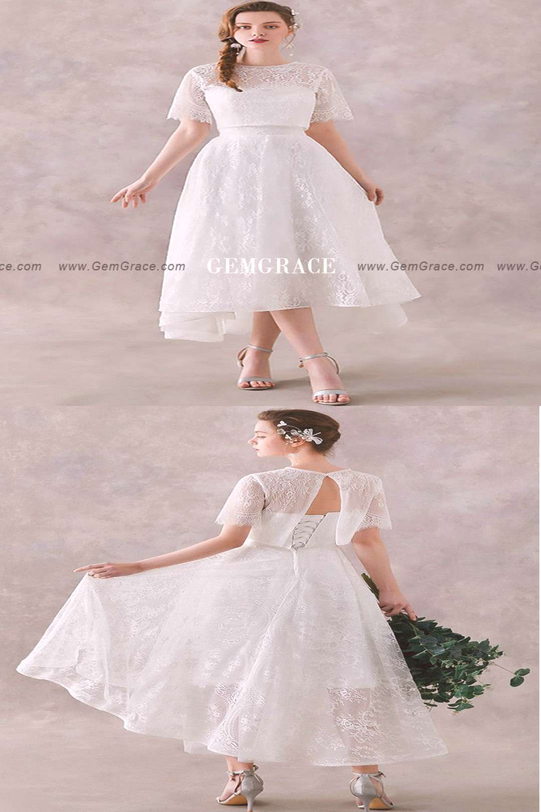 Two Piece High Lace Retro Wedding Dress Tea Length for Outdoor Wedding ... Two Piece High Lace Retr
