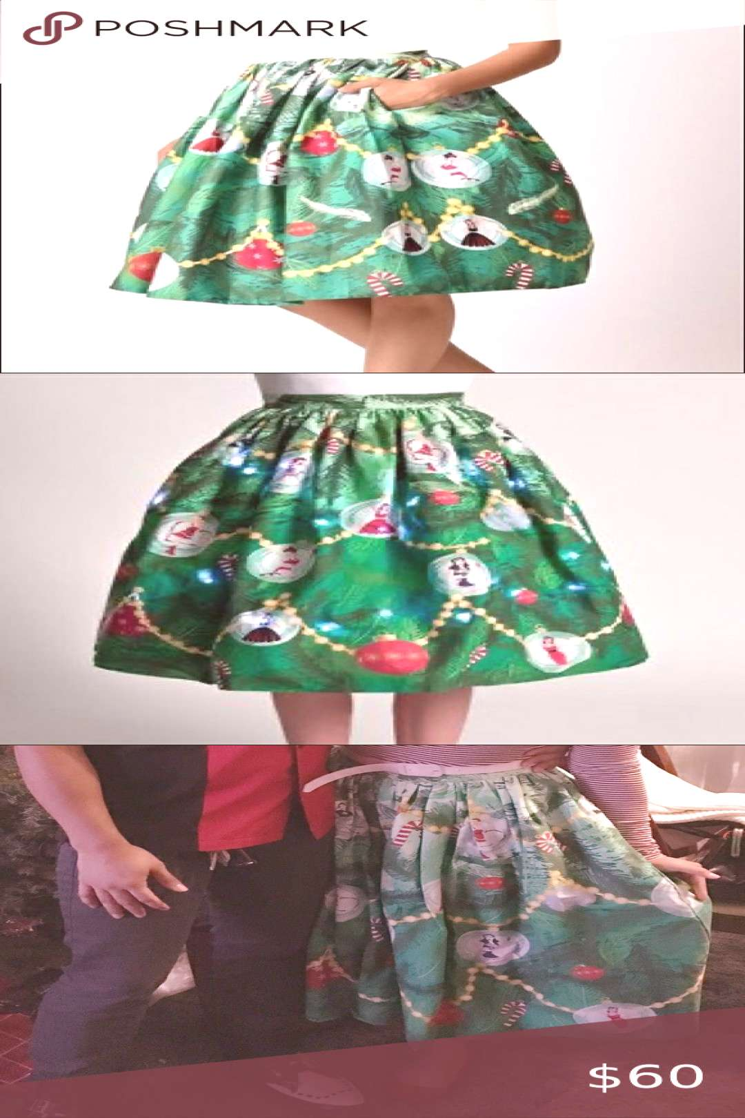 Unique Vintage Christmas Tree Skirt -size M -has pockets! -green lining - full circle skirt -zip