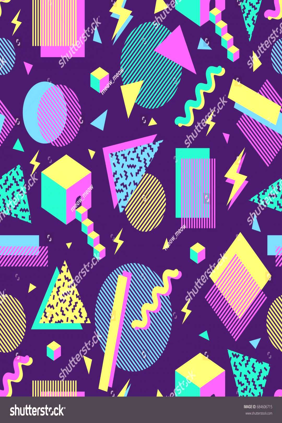 vector seamless pattern with multicolor geometric shapes on dark background. retro vintage abstract