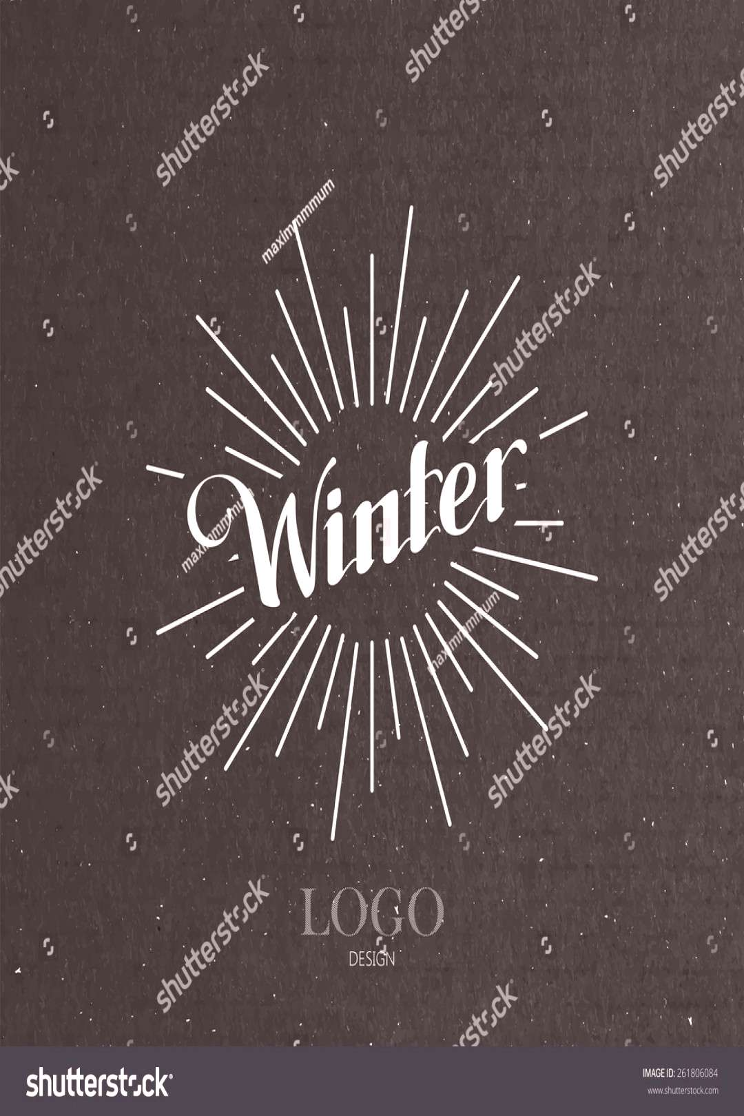 vector typographic illustration of handwritten Winter retro label with light rays. lettering logo c