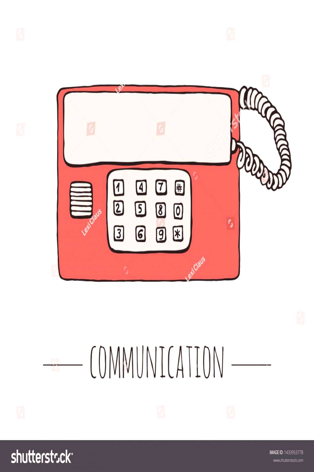 Vector vintage telephone. Retro illustration of wired rotary dial telephone. Old means of communica
