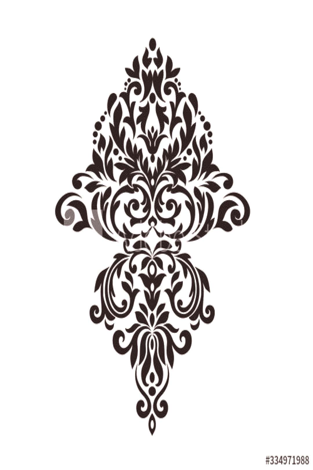 Vintage baroque ornament retro pattern antique style acanthus on a black background. Decoration for